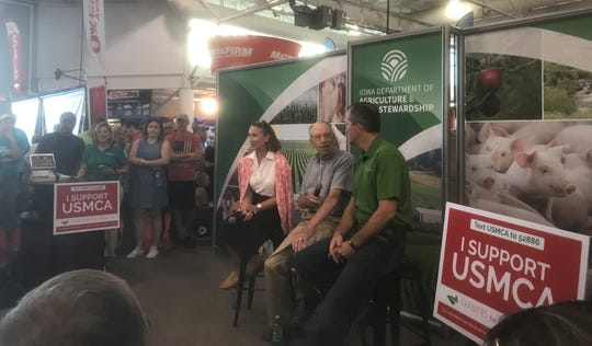 Former U.S. Sen. Blanche Lincoln, Sen. Chuck Grassley, and Iowa Agriculture Secretary Mike Naig discuss the benefits of the U.S.-Mexico-Canada Agreement Friday at the Iowa State Fair.