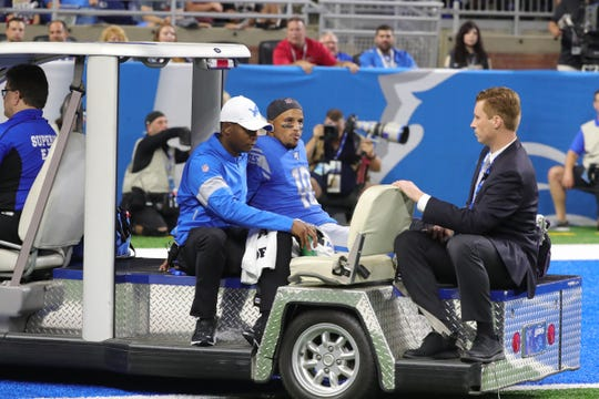 Detroit Lions receiver Jermaine Kearse is carted off the field during first half action against New England Patriots Thursday, August 8, 2019 at Ford Field, in Detroit Mich.