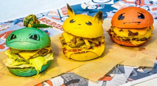 Bulbasaur, Pikachu and Charmander burgers served by the PokéBar, which is coming to Detroit in August 2020.