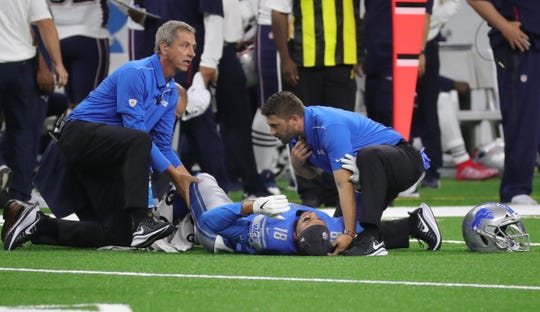 Detroit Lions receiver Jermaine Kearse is injured during the first half against the New England Patriots, August 8, 2019 at Ford Field.