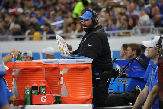 Detroit Lions head coach Matt Patricia watches the action from behind the bench during first half action against the New England Patriots Thursday, August 8, 2019 at Ford Field, in Detroit Mich.