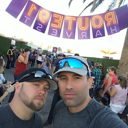Lee Dorchak Sr., left, of Warren poses with a friend for a selfie at the Route 91 Harvest Festival in Las Vegas in October 2017. This photo was taken hours before a gunman opened fire on the crowd, killing 58. Dorchak's right leg was struck by a bullet.