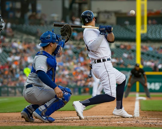Tigers center fielder JaCoby Jones is hit by a pitch in the second inning against the Royals on Thursday, Aug. 8, 2019, at Comerica Park.