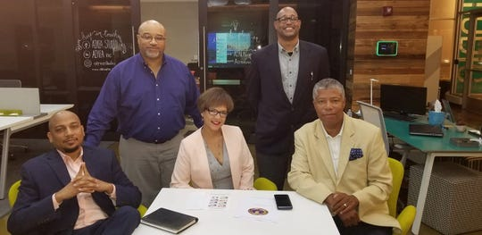 The leaders of the new Detroit Coalition for Economic Inclusion are, left to right, Dr. Ken L. Harris, PhD, President/CEO The National Business League; Darwyn Parks, President, Michigan Minority Contractors Association; Alisha M. Moss, CEO VM3 Construction LLC, VM3 Consulting Corp. and President of the Real Estate Association of Developers; Jason Cole, Executive Director, Michigan Minority Contractors Association; and Greg Bowens, coalition spokesperson, owner, Bowens & Co. Media & Public Relations