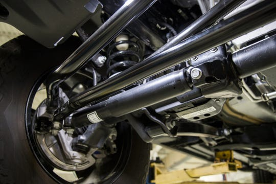 The new steering damper part number 580AE installed in a 2019 Jeep Wrangler at the Fiat Chrysler's Featherstone Road Center in Auburn Hills, Wednesday, July 3, 2019. D