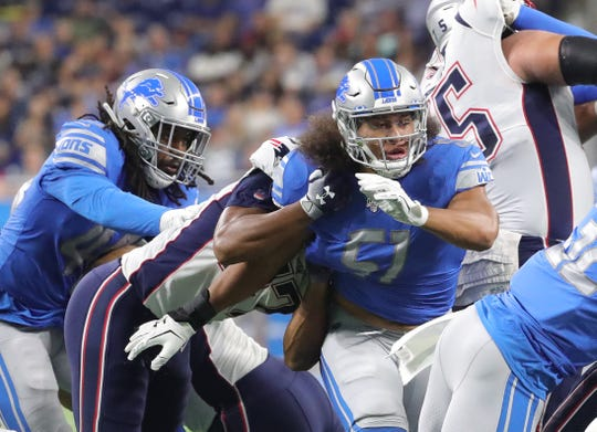 Detroit Lions linebacker Jahlani Tavai rushes against the New England Patriots during first half action Thursday, August 8, 2019 at Ford Field, in Detroit Mich.