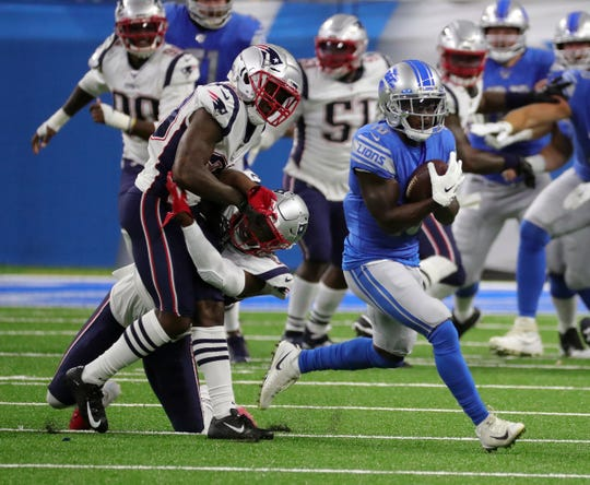 Detroit Lions receiver Brandon Powell makes a catch the against the New England Patriots during first half action Thursday, August 8, 2019 at Ford Field, in Detroit Mich.