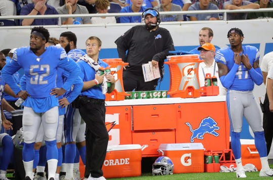 Detroit Lions head coach Matt Patricia on the sidelines during the 31-3 loss to the New England Patriots Thursday, August 8, 2019 at Ford Field.