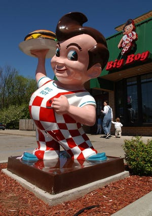 A Big Boy statue is located near the entrance to the Big Boy restaurant on Ford Road in Canton Township.