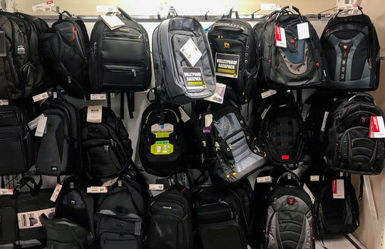 Bulletproof backpacks that for sale at an Office Depot store in Evanston, Ill.
