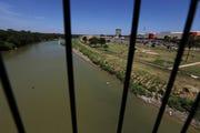 The Rio Grande  seen from the International Bridge 1, in Nuevo Laredo, Mexico.