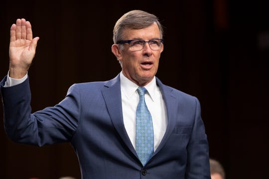 FILE - In this July 25, 2018, file photo, retired Vice Adm. Joseph Maguire and now current director of the National Counterterrorism Center, appears before the Senate Intelligence Committee on Capitol Hill in Washington. President Donald Trump has named Maguire as acting national intelligence director.