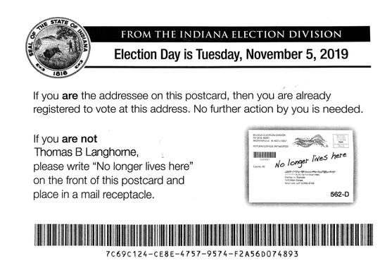 Postcard from the Indiana Election Division.