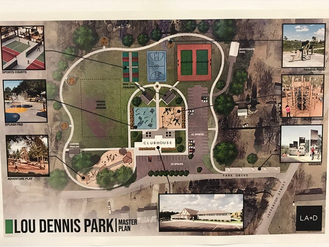 Concept art of a plan to renovate Lou Dennis Community Park in Newburgh, which was presented Thursday at a meeting of the Parks Board.