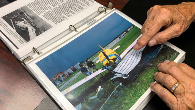 Aug. 13 marks the 15-year anniversary of Hurricane Charley. Several affected SWF residents and businesses reflect on their memories of the storm. Sam Harmon, who we photographed back in 2004 while he was surveying damage of his plane at the Charlotte County Airport. Sam keeps a photo album from that day and talked about life since then. His private plane that was used for work travel was heavily damaged in the hurricane. They had it rebuilt and used it up until a few years ago when they sold it.