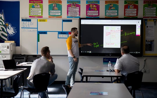 Teachers at Lehigh Senior High School get extra training on a new Promethean Board on Friday, August 9, 2019, in Lehigh Acres. The school's existing building was renovated to add more classroom space.