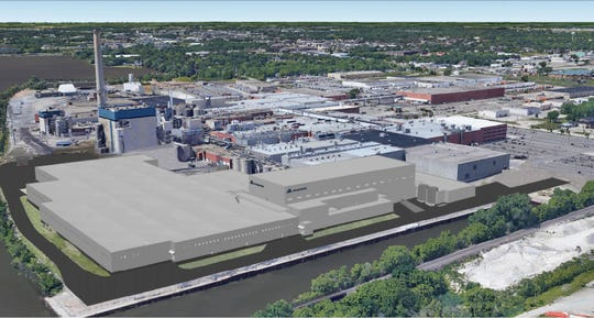 A rendering looking southwest shows Georgia-Pacific's proposed 458,000-square-foot expansion to the Broadway Mill.