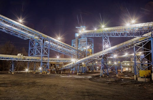 Part of the Dotiki Mine complex is seen lighted up at night in this photo from Alliance Resource Partner's website.