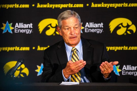Iowa head coach Kirk Ferentz talks with reporters during Hawkeyes football media day, Friday, Aug. 9, 2019, at the Feller Club Room in Carver-Hawkeye Arena in Iowa City, Iowa.
