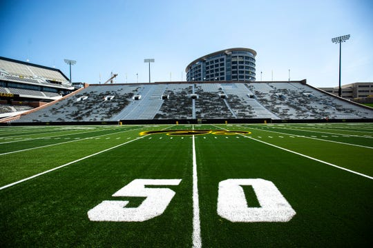 A Tigerhawk logo is pictured at the 50 yard line while construction continues during a media tour of the north end zone, Friday, Aug. 9, 2019, at Kinnick Stadium in Iowa City, Iowa.