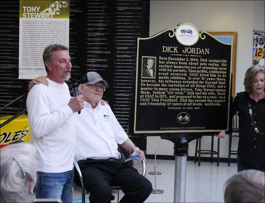 Dave Darland, Dick Jordan, Dick's wife Susie Jordan during the Indiana Racing Memorial Association marker unveiling ceremony April 10, 2019 at the IMS Museum. The marker will be placed at the USAC building in Speedway.