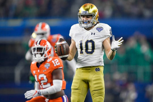 Fighting Irish wide receiver Chris Finke (10) reacts after a play during the first quarter in the 2018 Cotton Bowl college football playoff semifinal game against the Clemson Tigers at AT&T Stadium.