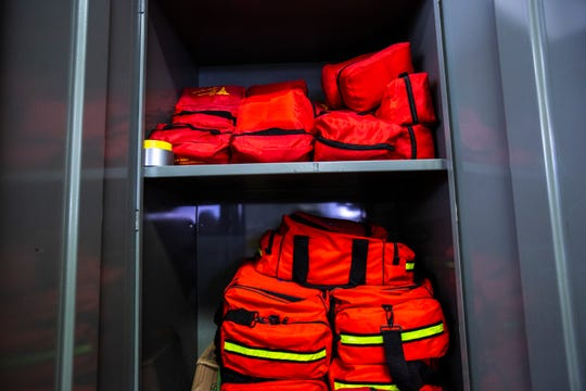 A locker full of pre-packaged disaster triage kits are stacked together, Thursday, Aug. 8, 2019, at the University of Iowa Hospital and Clinics in Iowa City, Iowa.