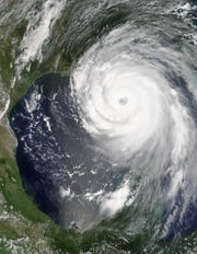Satellite image of Hurricane Camille before landfall on the Mississippi Gulf Coast in August 1969.