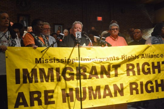 Church and civil rights leaders gather at the NAACP headquarters in Jackson, Miss., on Aug 8, 2019, to oppose the federal immigration raids on poultry processing plants in Mississippi.