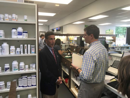 U.S. Congressman David Kustoff takes a tour of Health Care Pharmacy in Jackson and gets a look at things behind the counter on Aug. 9, 2019.
