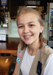 Girl Scout Avery Hanson, 13, is working for her Silver Award making weighted blankets for foster kids with anxiety. August 2019