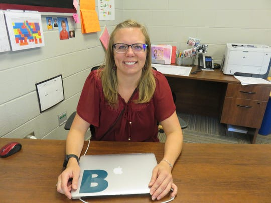 Trina Bruns, who is in her first year as principal at Pond Gap Elementary, is shown in her office on Aug. 7. 2019