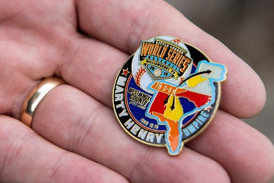 Marty Henry's Little League World Series commemorative pin.