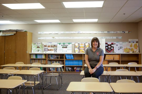 West Lafayette Jr./Sr. High School teacher Marydell Forbes poses for a photo in her English classroom, Friday, Aug. 9, 2019 in Lafayette.