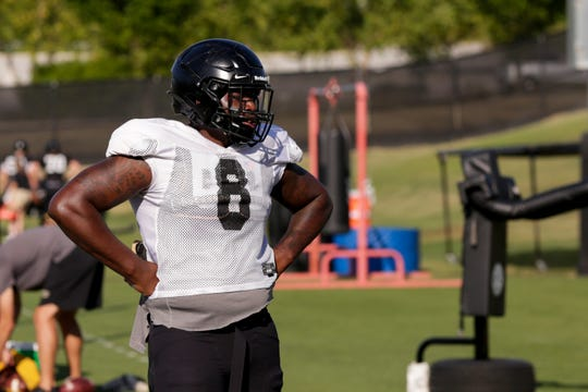 Purdue defensive tackle Anthony Watts (8) watches a drill during practice, Friday, Aug. 9, 2019 at Bimel Practice Complex in West Lafayette.