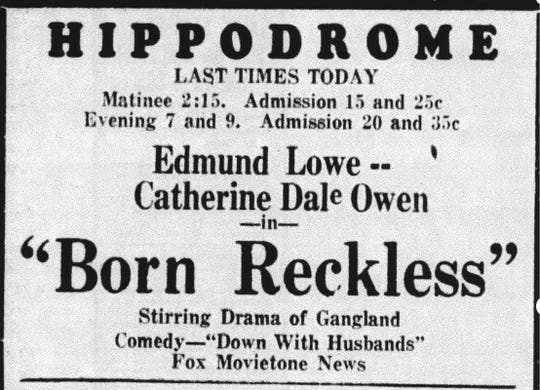 "Movie star Catherine Dale Owen starred in ""Born Reckless"" and watched the movie for the first time in Lancaster on May 20, 1930. This ad appeared in the Daily Eagle on May 20, 1930."