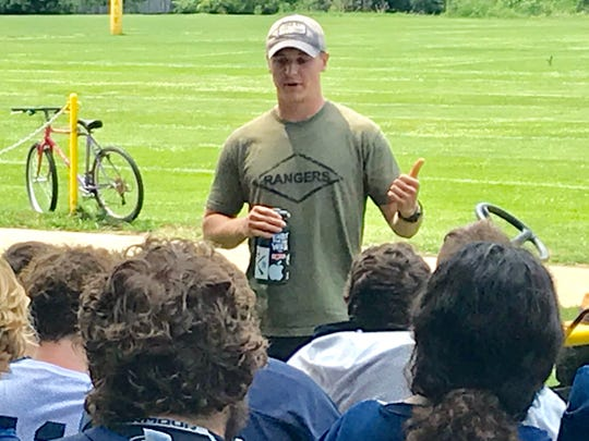 Noah Dryden spoke to the Lancaster football team last week during a visit home from the Army.