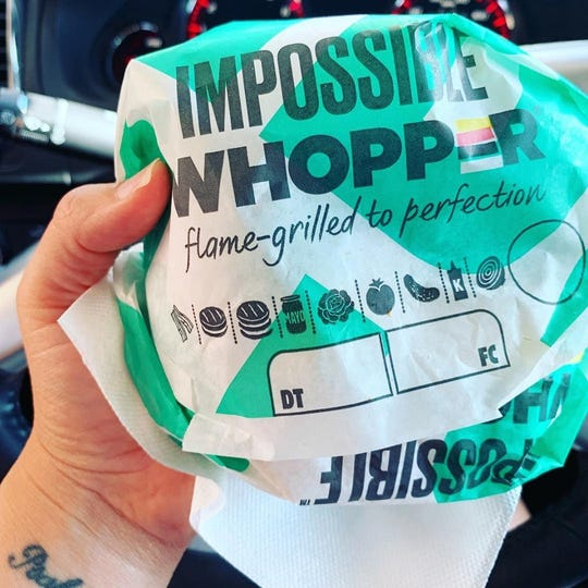 Jennifer Muffett, an Okemos resident, bought this Impossible Whopper on Thursday afternoon at a Burger King near the Meridian Mall.