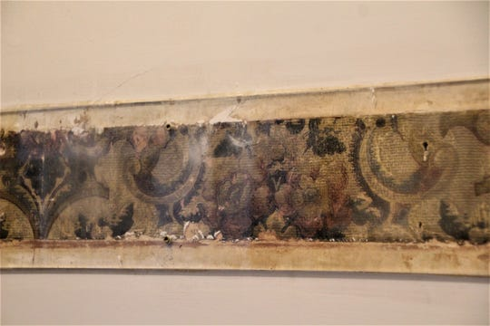 This strip of 100-plus-year-old wallpaper reveals what style of interior decorating Florence Harding  preferred. Harding Home Site Manager Sherry Hall said similar strips of wallpaper have been discovered throughout the house during the restoration process.
