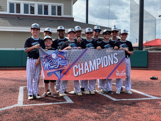 Members of the USSSA AA World Series Championship are front row from left, Collin Caudill (Pleasant), team manager Bodie Hall (Pleasant), Grady hall (Pleasant), Jackson Payne (Pleasant), Hudson Esterline (Banjamin Harrison), Weston Shaffer (Pleasant); second row from left, Jaden Jordan (Hayes), Gabe Malo (Ridgedale), Brody Mawer (Ridgedale), Brody Ringer (Pleasant) and Colin Jordan (Pleasant).