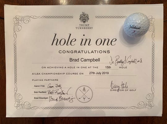 This is the certificate Dr. Bradley Campbell earned after hitting a hole in one on the 15th hole at Trump Turnberry last month.