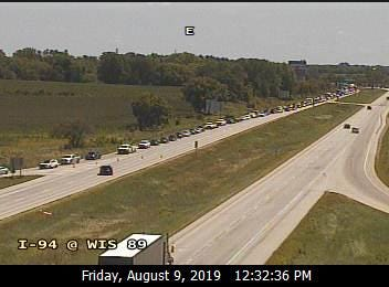 Traffic on westbound I-94 is backed up because of a crash.