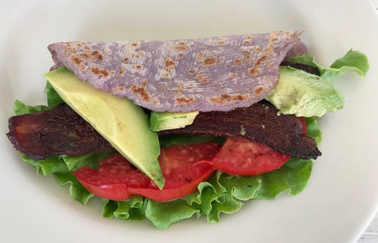 Purple Lefse BLT is a colorful Norwegian version of the classic sandwich just in time for tomato and potato season.