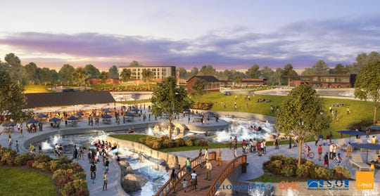 A whitewater park and outdoor center in downtown Montgomery will include a beer garden, a hotel, restaurants, shops and more.