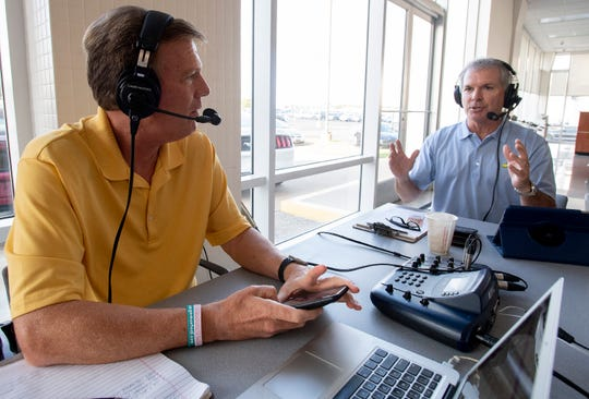 Barry McKnight, left, and John Longshore, right, do their SportsLine sports radio show on 740 WMSP on location in Montgomery, Ala., on Friday August 9, 2019.