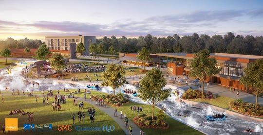 This rendering provided by the city shows plans for a whitewater park and outdoor center in downtown Montgomery.