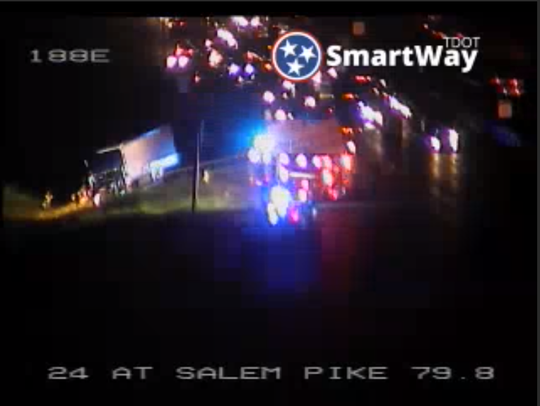 Crash closes Interstate 24 lanes at Salem Pike in Rutherford County on Thursday, Aug. 8, 2019.