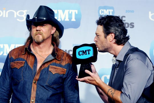 "Trace Adkins, left, and Blake Shelton won the Collaborative Video of the Year for ""Hillbilly Bone"" at the CMT Music Awards show on June 9, 2010."