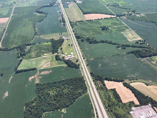 An aerial view of Interstate 70 in western Licking County shows the area the Ohio Highway Patrol has been targeting as part of its recent efforts to target distracted driving.