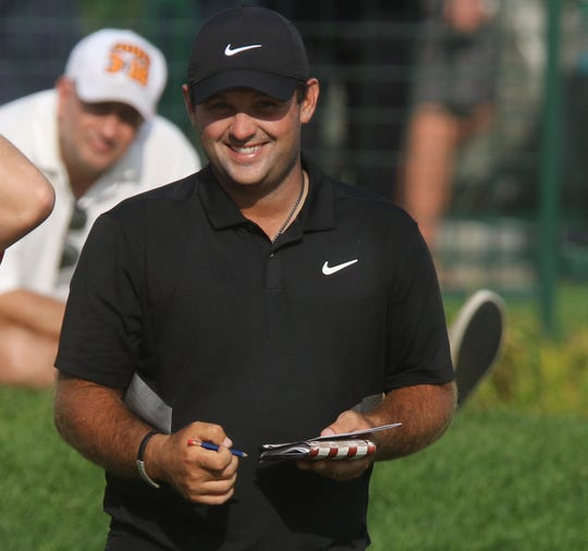 Patrick Reed after after finishing todayÕs round of golf while competing in the Northern Trust at Liberty National Golf Club in Jersey City on August 9, 2019.